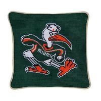 University of Miami Handstitched Pillow
