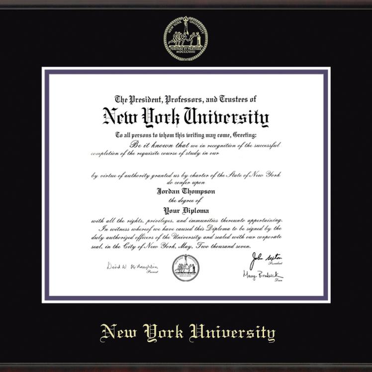 New York University Diploma Frame Fidelitas Graduation
