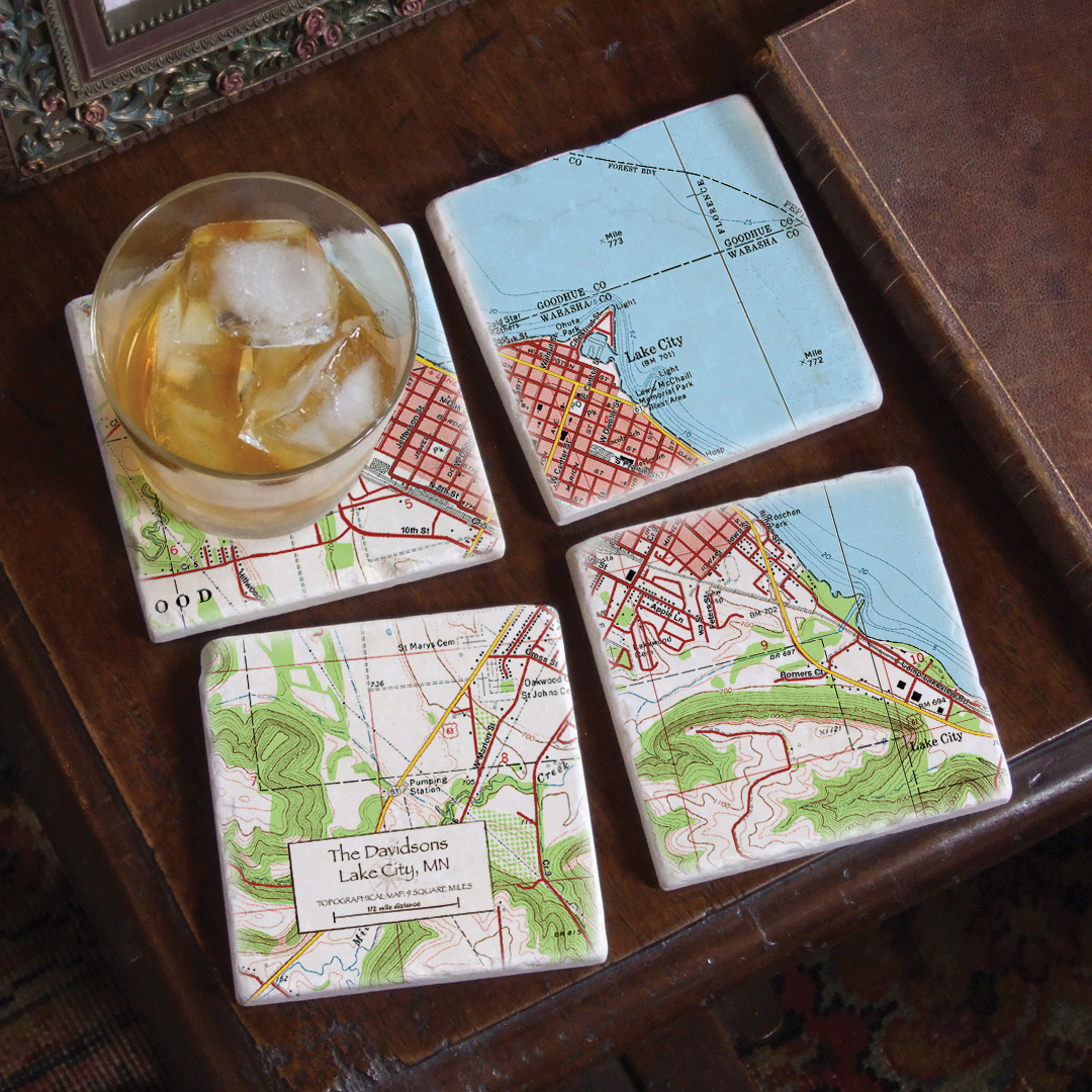 Custom Map Marble Coasters