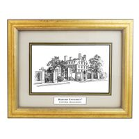 Framed Pen and Ink Harvard University Print