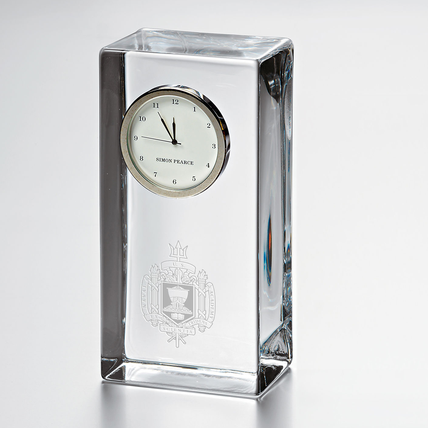 USNA Tall Glass Desk Clock by Simon Pearce