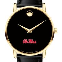 Ole Miss Men's Movado Gold Museum Classic Leather