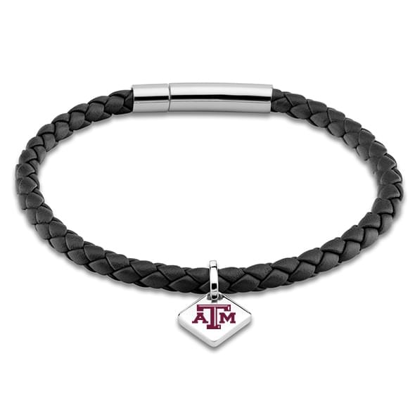 Texas A&M Leather Bracelet with Sterling Silver Tag - Black