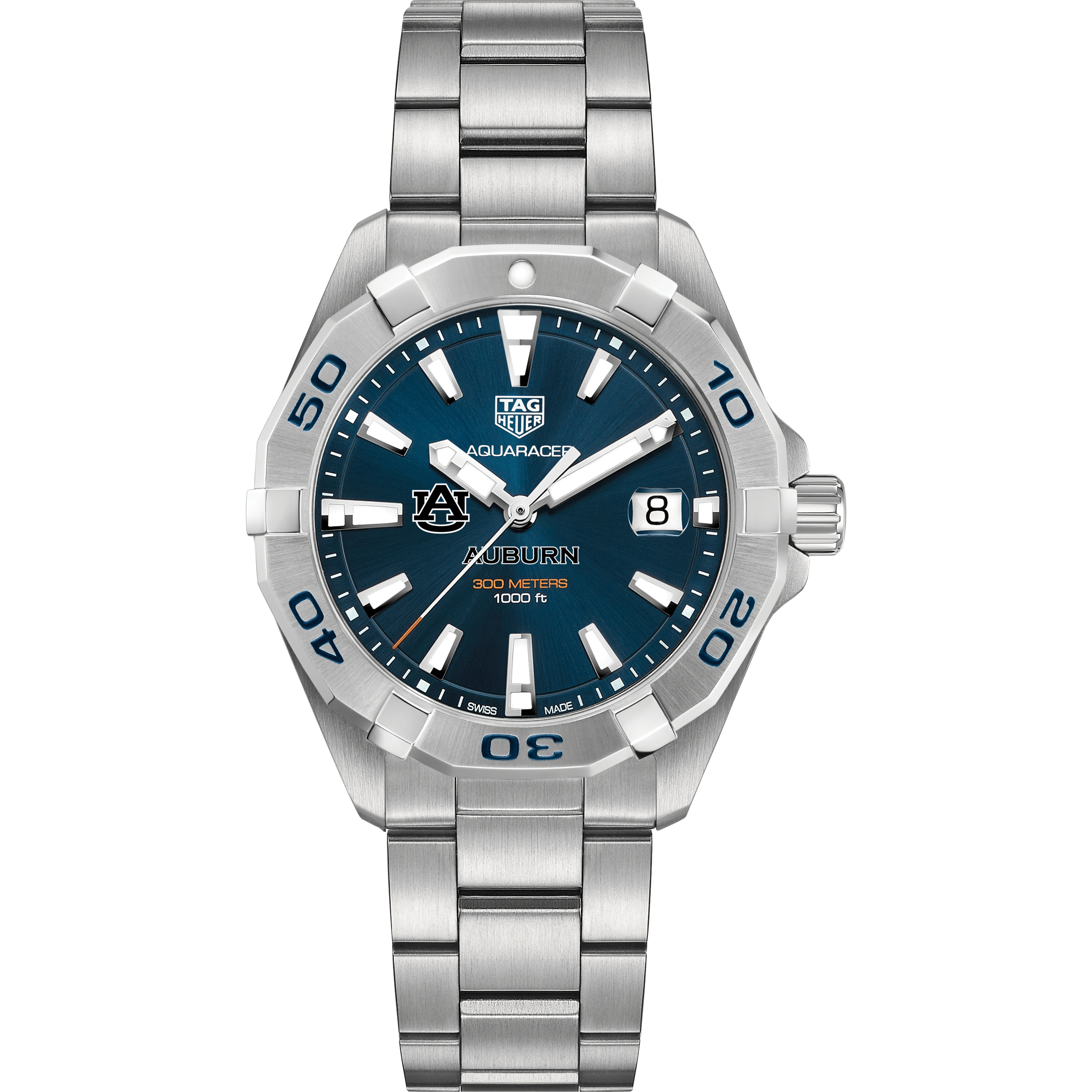 Auburn Men's TAG Heuer Steel Aquaracer with Blue Dial