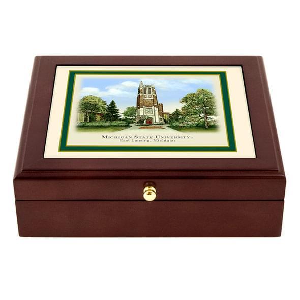 Michigan State Eglomise Desk Box At M Lahart Amp Co