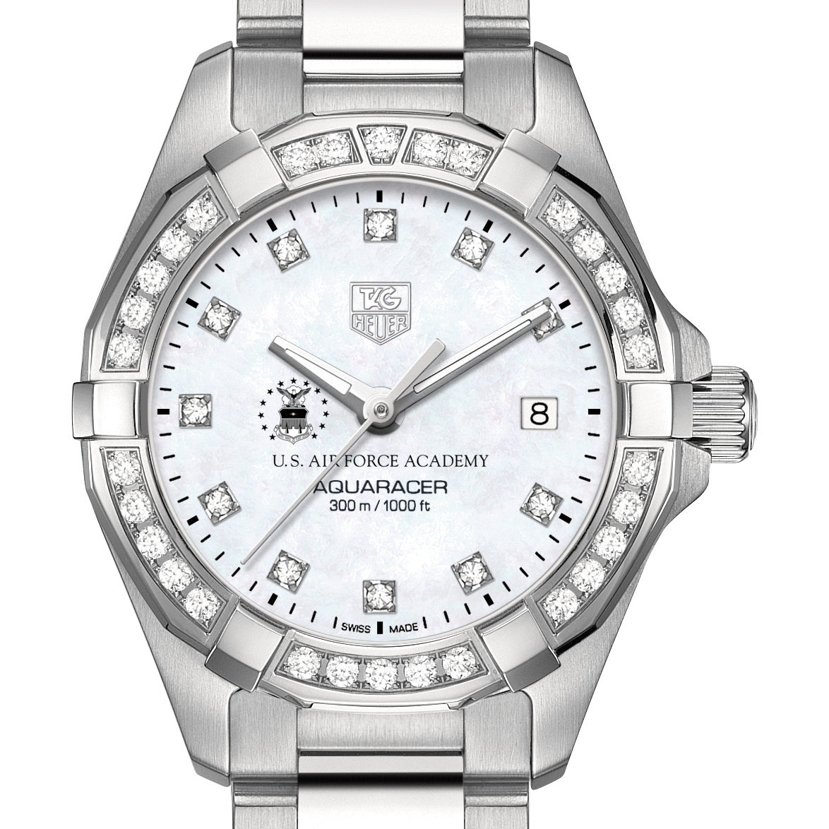 Air Force Academy Women's TAG Heuer Steel Aquaracer with MOP Diamond Dial & Diamond Bezel