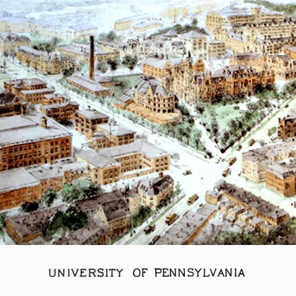 University Of Pennsylvania Historic Watercolor Print At M