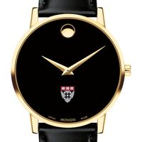 Harvard Business School Men's Movado Gold Museum Classic Leather