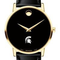 Michigan State Men's Movado Gold Museum Classic Leather