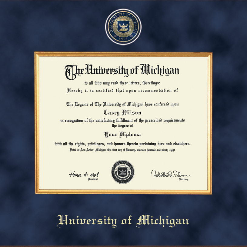 University Of Michigan Diploma Frame Excelsior