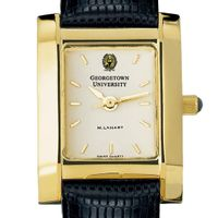 Georgetown Women's Gold Quad Watch with Leather Strap