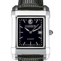 Clemson Men's Black Quad Watch with Leather Strap