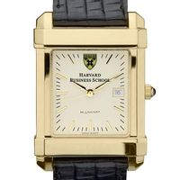 Harvard Business School Men's Gold Quad Watch with Leather Strap