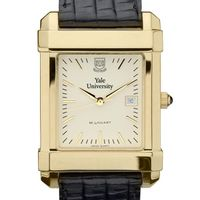 Yale Men's Gold Quad Watch with Leather Strap