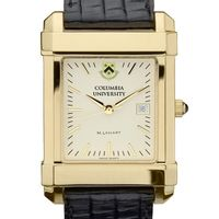 Columbia University Men's Gold Quad Watch with Leather Strap