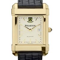 Wharton Men's Gold Quad Watch with Leather Strap