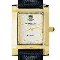 Wharton Women's Gold Quad Watch with Leather Strap