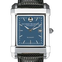 SMU Men's Blue Quad Watch with Leather Strap
