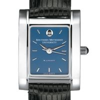 SMU Women's Blue Quad Watch with Leather Strap Image-1 Thumbnail