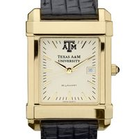Texas A&M Men's Gold Quad Watch with Leather Strap