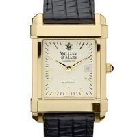 William & Mary Men's Gold Quad Watch with Leather Strap