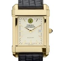 Cornell Men's Gold Quad Watch with Leather Strap