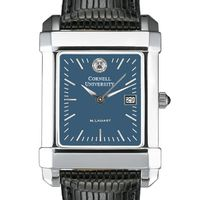 Cornell Men's Blue Quad Watch with Leather Strap