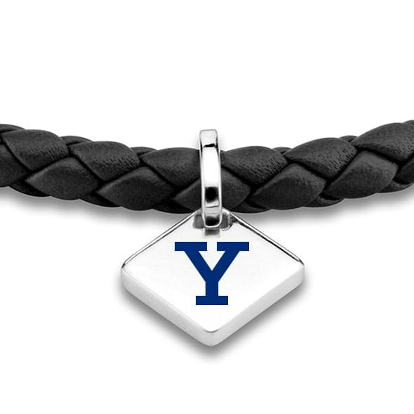 Yale Leather Bracelet with Sterling Silver Tag - Black