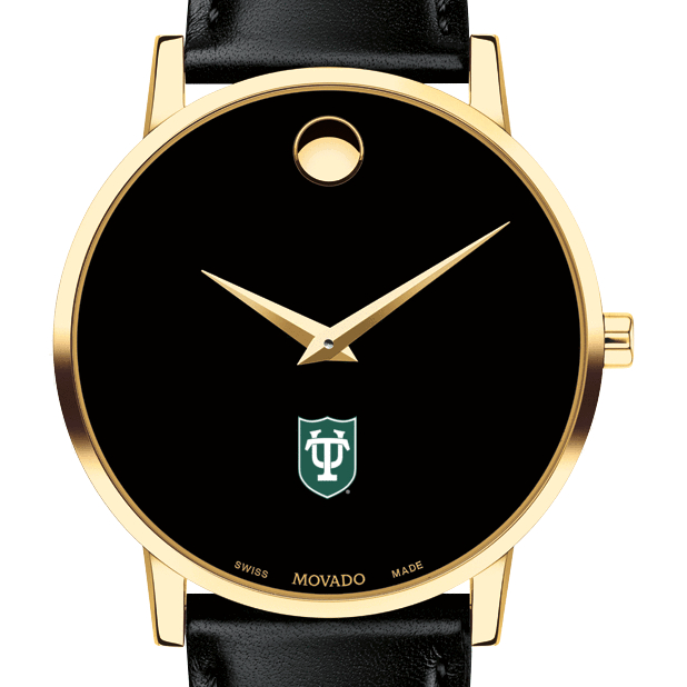 Tulane Men's Movado Gold Museum Classic Leather