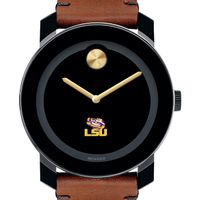 LSU Men's Movado BOLD with Brown Leather Strap