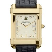 Notre Dame Men's Gold Quad Watch with Leather Strap