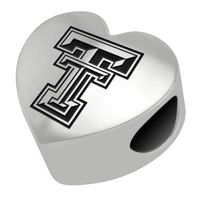 Texas Tech Heart Shaped Bead