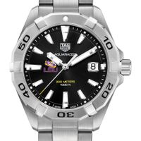 LSU Men's TAG Heuer Steel Aquaracer with Black Dial