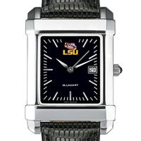 LSU Men's Black Steel Quad with Leather Strap