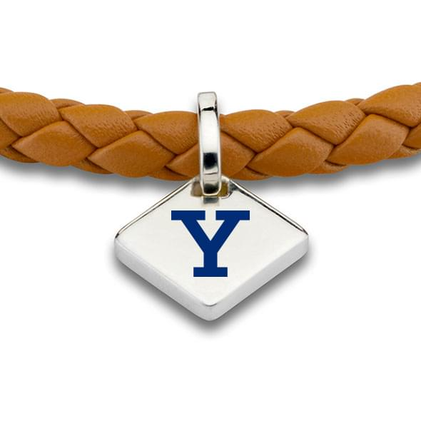 Yale Leather Bracelet with Sterling Silver Tag - Saddle