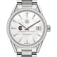 South Carolina Women's TAG Heuer Steel Carrera with MOP Dial & Diamond Bezel