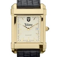 Tulane Men's Gold Quad with Leather Strap