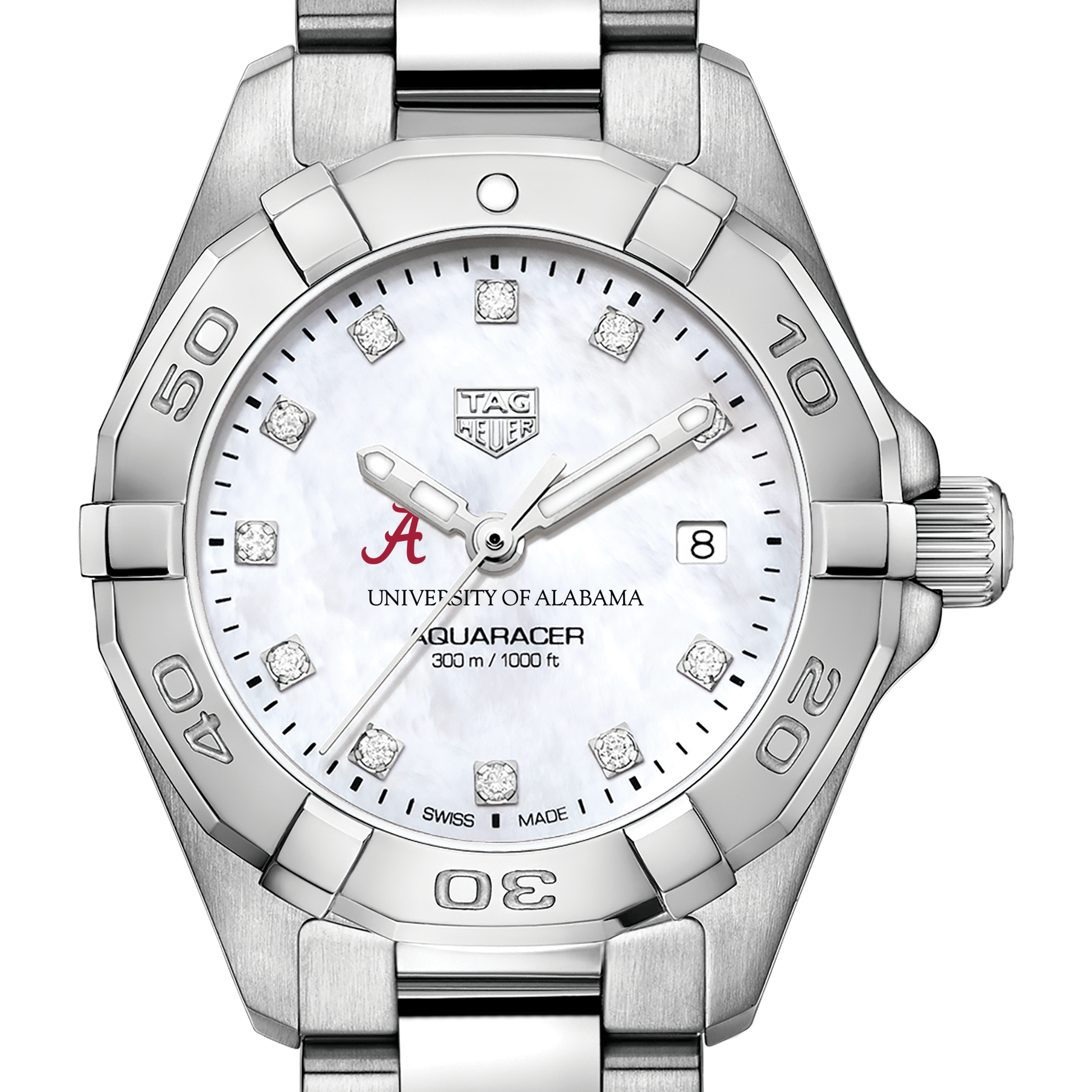 Alabama Women's TAG Heuer Steel Aquaracer with MOP Diamond Dial