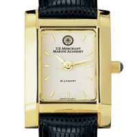 USMMA Women's Gold Quad Watch with Leather Strap