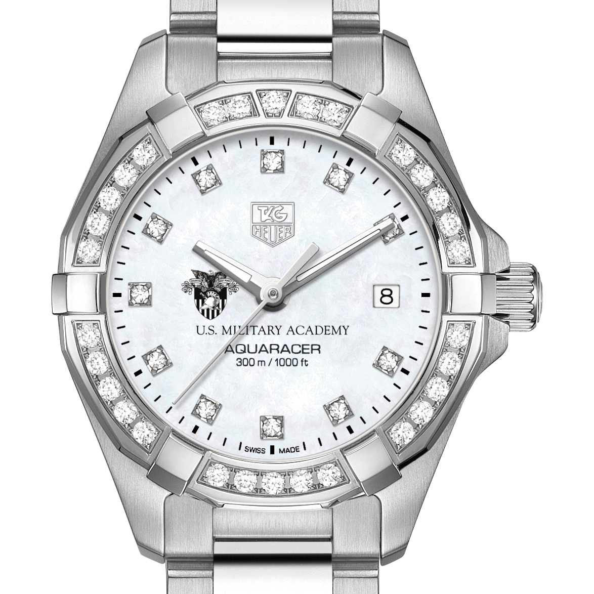 West Point Women's TAG Heuer Steel Aquaracer with MOP Diamond Dial & Diamond Bezel