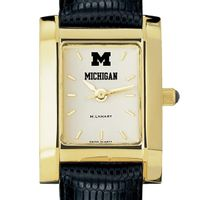 Michigan Women's Gold Quad Watch with Leather Strap