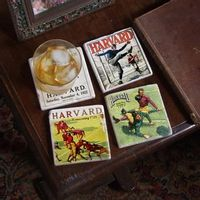 Harvard Vintage Football Marble Coasters