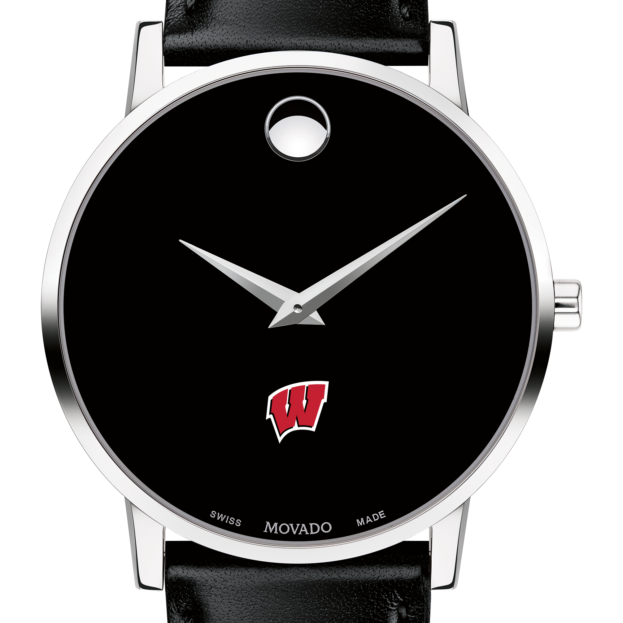 Wisconsin Men's Movado Museum with Leather Strap