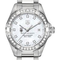 Brown Women's TAG Heuer Steel Aquaracer with MOP Diamond Dial & Diamond Bezel