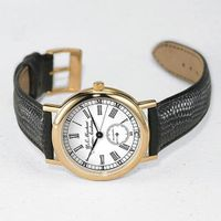 USMMA Men's Classic Watch with Leather Strap Image-1 Thumbnail
