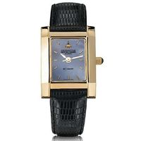 Notre Dame Alumni Women's Blue Mother of Pearl Quad Watch with Leather Strap