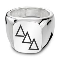 Delta Delta Delta Sterling Silver Rectangular Cushion Ring Image-1 Thumbnail