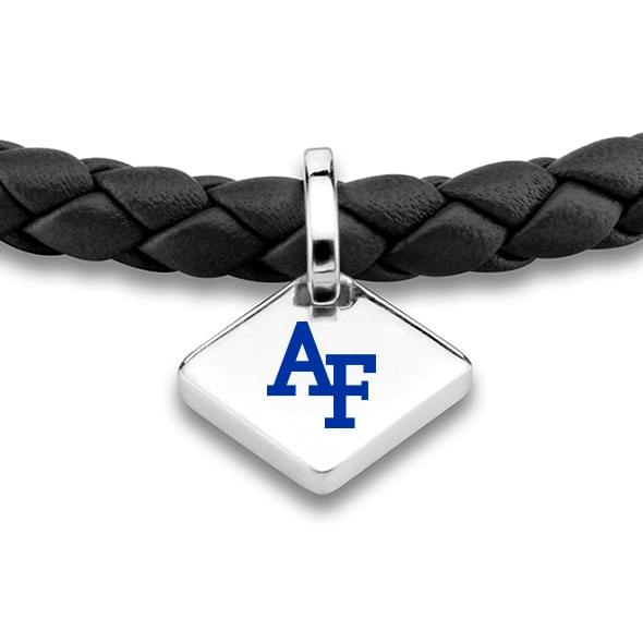 USAFA Leather Bracelet with Sterling Silver Tag - Black