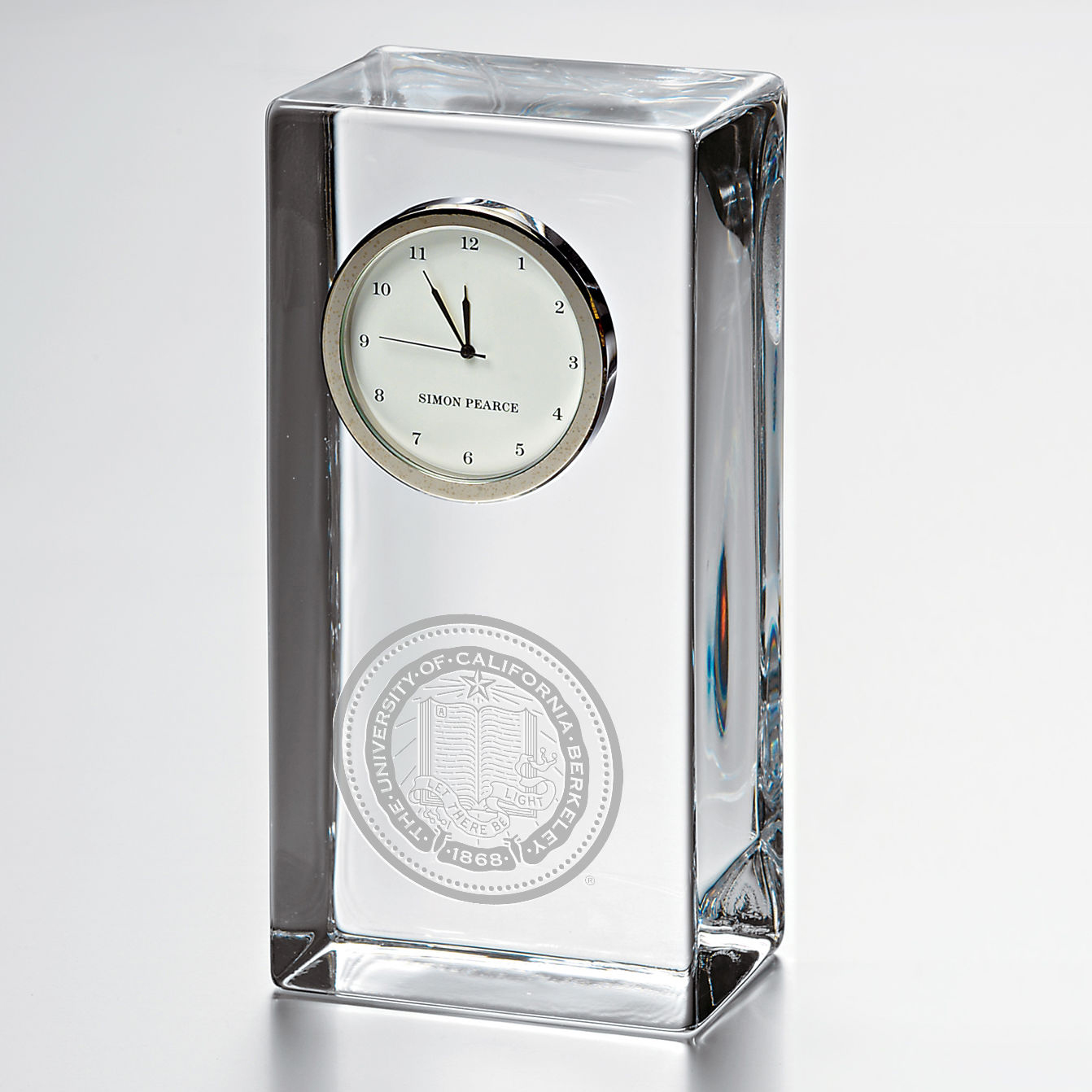 Berkeley Tall Glass Desk Clock by Simon Pearce