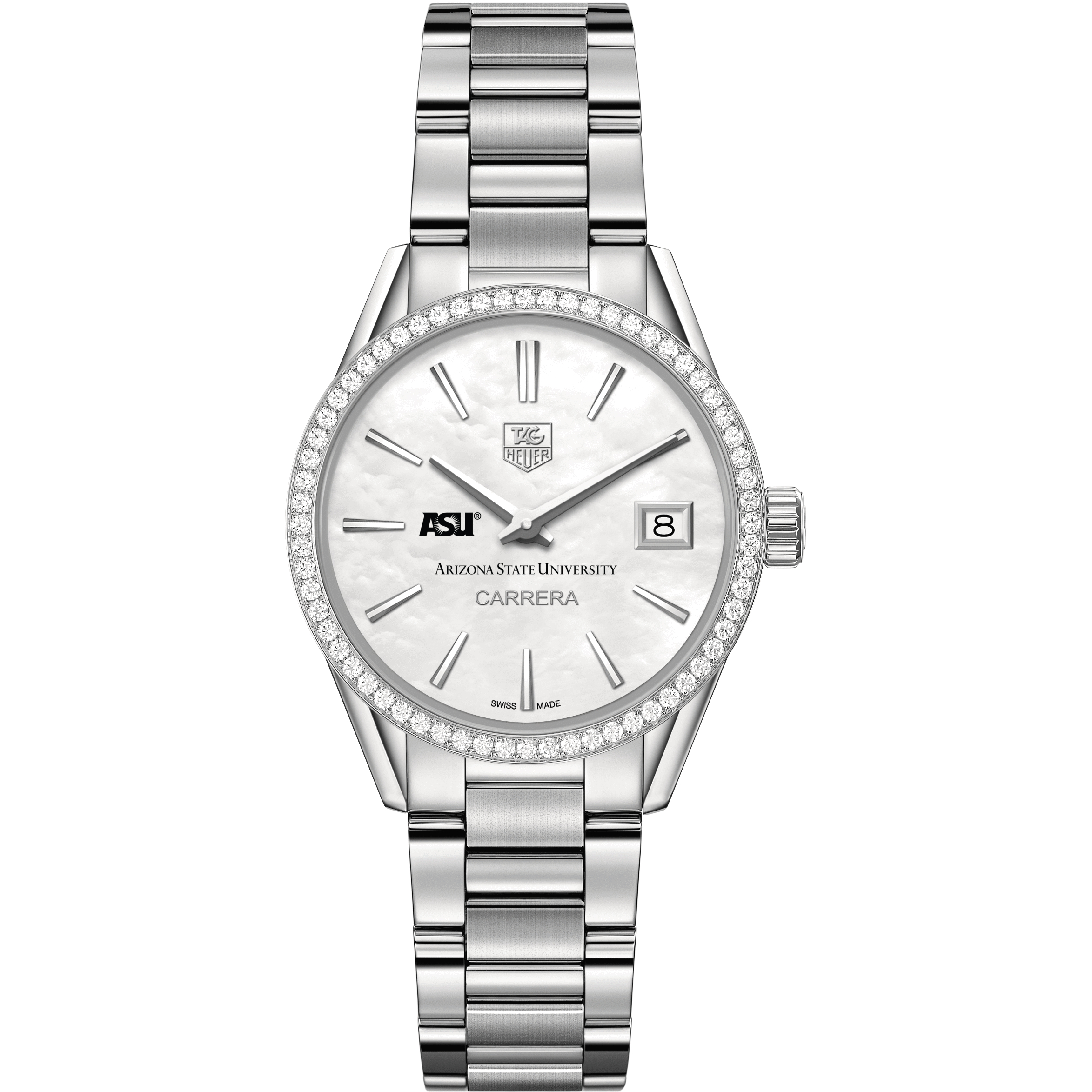 Arizona State Women's TAG Heuer Steel Carrera with MOP Dial & Diamond Bezel